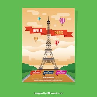 Panfleto de viagens com destinos em estilo simples