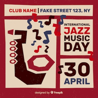 Panfleto de vindima de dia internacional de jazz retrô / cartaz