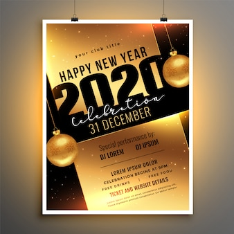 Panfleto dourado ou cartaz para o modelo de festa de comemoração de ano novo de 2020