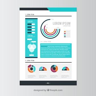 Panfleto empresarial moderno com elementos infográfico