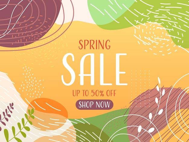 Panfleto ou cartão de banner de venda sazonal da primavera com folhas decorativas e texturas desenhadas à mão ilustração horizontal