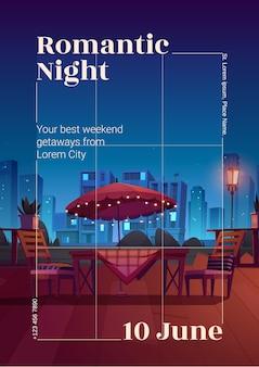 Panfleto ou pôster de noite romântica em um café
