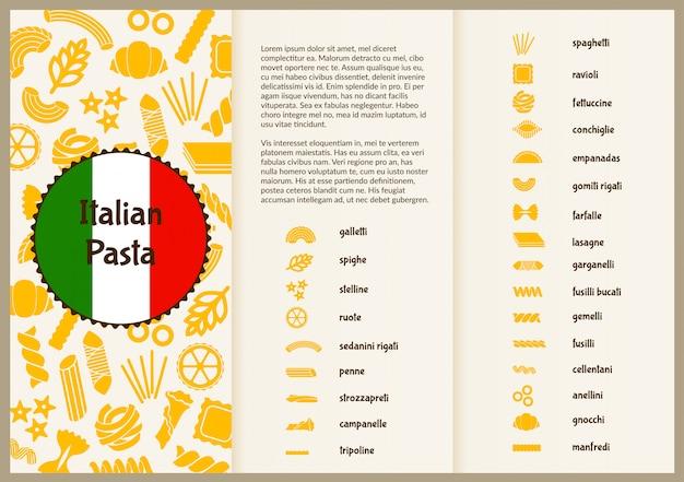 Panfleto para apresentação com tipos de macarrão.
