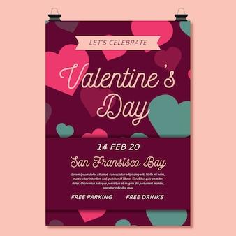 Panfleto plano de festa de dia dos namorados