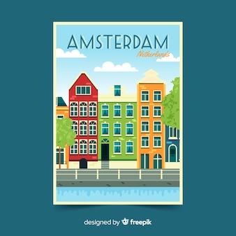 Panfleto promocional retrô de amsterdã