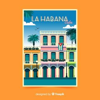 Panfleto promocional retrô de la habana