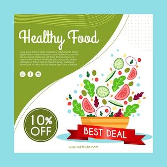 Panfleto quadrado com comida saudável para restaurante