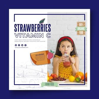 Panfleto quadrado de alimentos saudáveis e bio