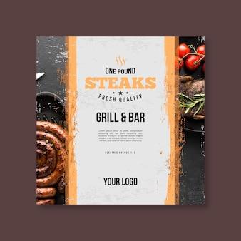 Panfleto quadrado de churrasco de comida fresca grelhada