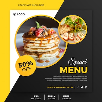 Panfleto quadrado de comida clássica ou modelo de postagem do instagram