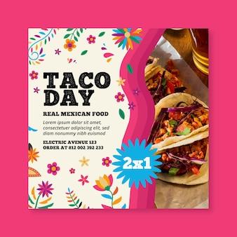 Panfleto quadrado de comida mexicana