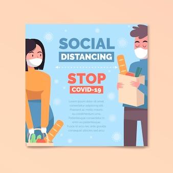 Panfleto quadrado de distância social
