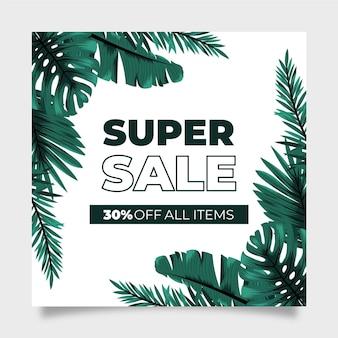 Panfleto quadrado de super venda folhas exóticas