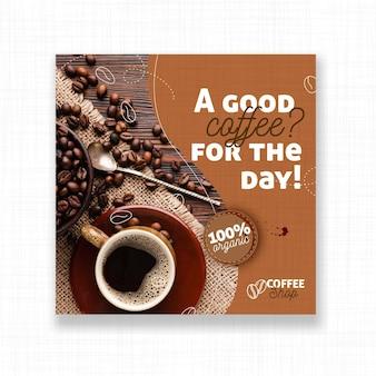 Panfleto quadrado do bom café do dia