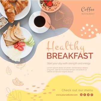 Panfleto quadrado pequeno-almoço saudável