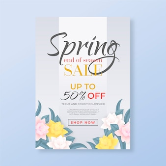 Panfleto realista para venda de primavera com flores coloridas