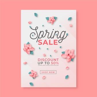 Panfleto realista para venda de primavera com flores
