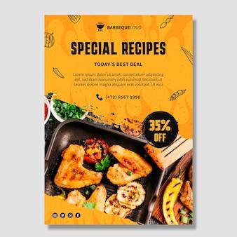 Panfleto vertical de churrasco delicioso