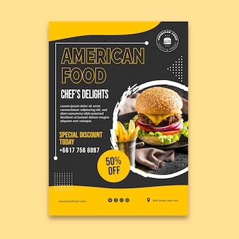 Panfleto vertical de comida americana