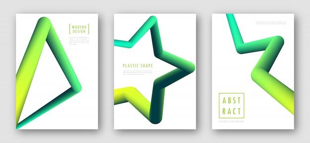 Panfletos com formas abstratas gradientes fluidos