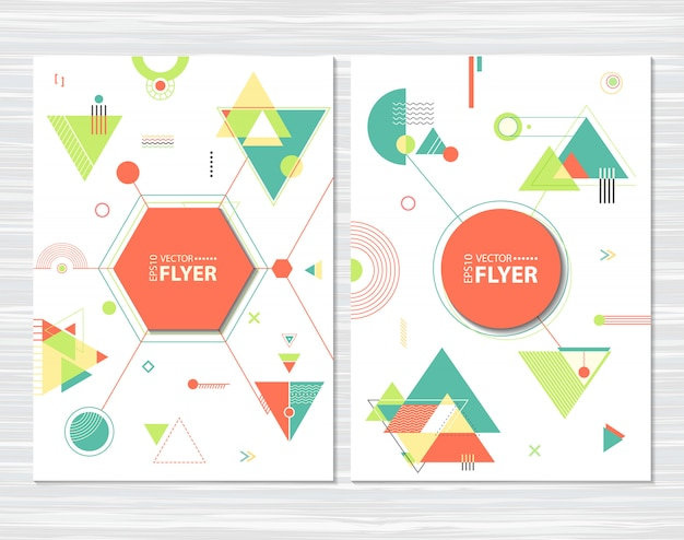 Panfletos com formas geométricas abstratas