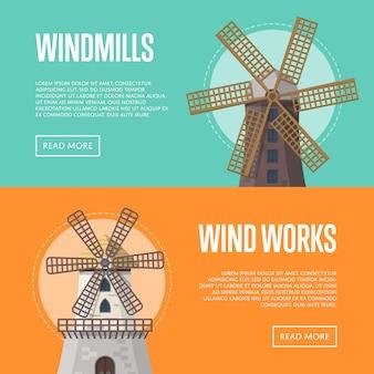 Panfletos de agricultura natural com edifícios de moinho de vento