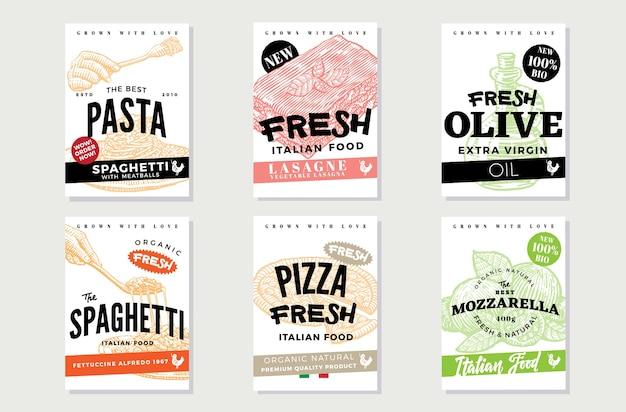 Panfletos de comida italiana desenhados à mão