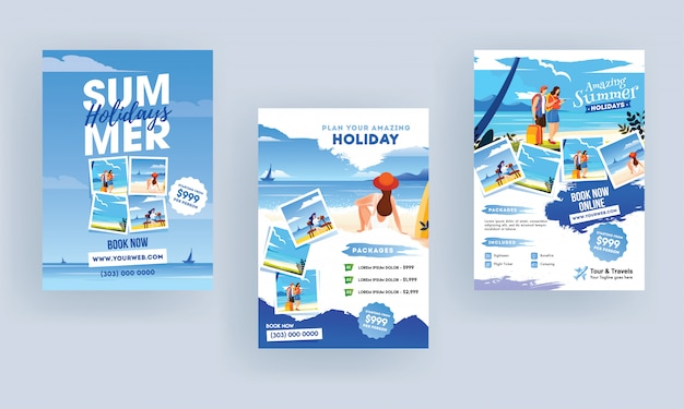 Panfletos de férias de verão.