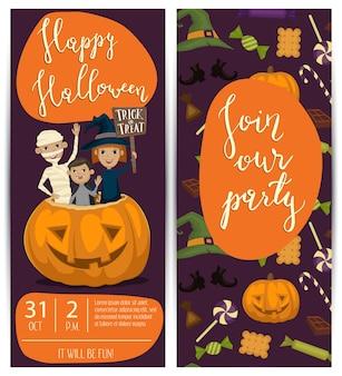 Panfletos de festa de halloween conjunto com crianças em trajes