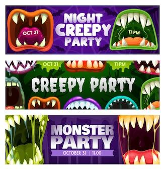 Panfletos de noite de festa assustadores com bocas de monstro