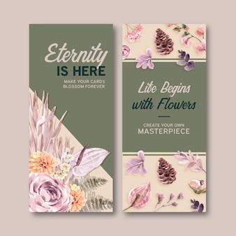 Panfletos florais secos em estilo aquarela