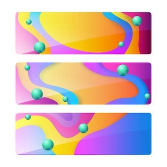 Panfletos ou banners coloridos de cartazes isolados com formas de onda e espaço em branco para texto