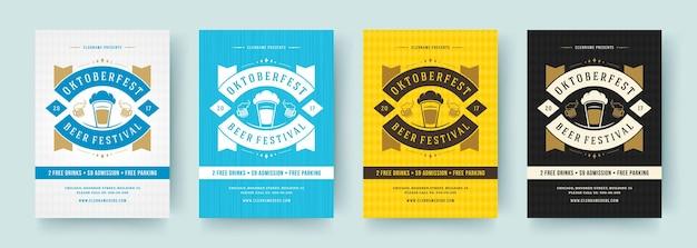 Panfletos ou cartazes da oktoberfest tipografia retrô modelos de vetor design convites celebração do festival de cerveja.