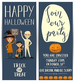 Panfletos verticais de festa de halloween conjunto com crianças