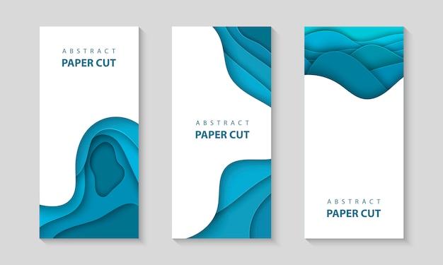 Panfletos verticais de vetor com formas de corte de papel azul