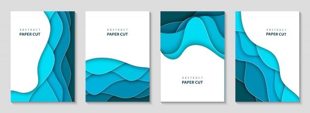 Panfletos verticais de vetor com papel azul cortam ondas
