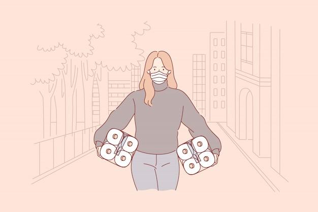 Pânico, compra de papel higiênico, covid19, infecção, 2019ncov, conceito de coronavírus.