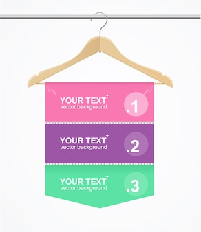 Pano de cabide de número de opção de banner para loja de moda. ilustração vetorial