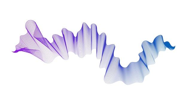 Pano de fundo abstrato com linhas de gradiente de onda azuis e roxas em fundo branco. fundo de tecnologia moderna, design de onda. ilustração vetorial