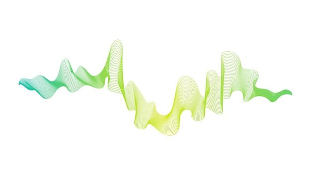 Pano de fundo abstrato com linhas de gradiente de onda verde sobre fundo branco. fundo de tecnologia moderna, design de onda. ilustração vetorial