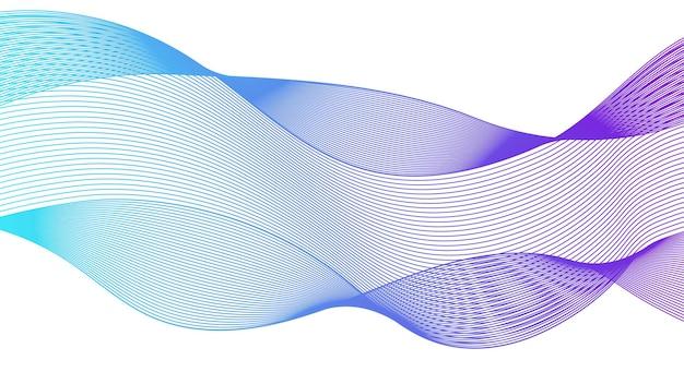 Pano de fundo abstrato com linhas de gradiente de ondas coloridas em fundo branco. fundo de tecnologia moderna, design de onda. ilustração vetorial