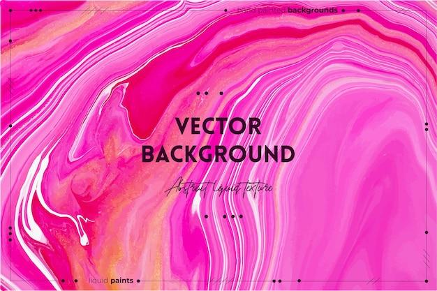 Pano de fundo abstrato de textura de arte fluida com efeito de tinta espiralada arte acrílica líquida com fluxos e respingos tintas misturadas para pôsteres ou papéis de parede vermelho dourado e rosa cores transbordantes