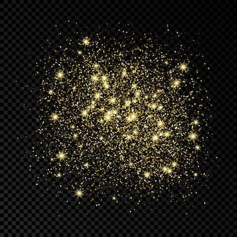 Pano de fundo brilhante de brilhos dourados sobre um fundo escuro e transparente. fundo com efeito glitter dourados. espaço vazio para o seu texto. ilustração vetorial