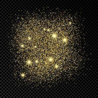 Pano de fundo brilhante dourado sobre um fundo escuro e transparente. plano de fundo com efeito glitter dourados e espaço vazio para o seu texto. ilustração vetorial