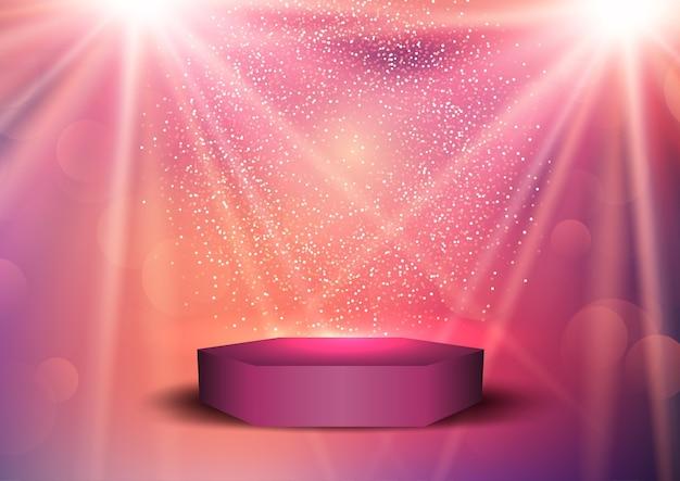 Pano de fundo de apresentação com pódio de exibição sob holofotes