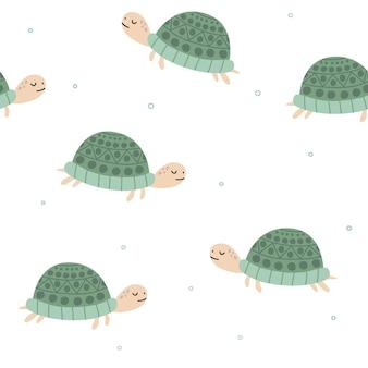 Pano de fundo desenhado à mão de tartarugas padrão sem emenda com tartarugas padrão com répteis de animais