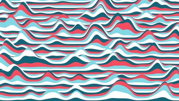 Pano de fundo distorcido de listras azuis e vermelhas retrô. fundo de ondulação vintage processual com efeito de ilusão de ótica.