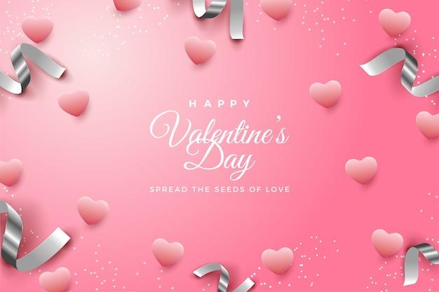 Pano de fundo do dia dos namorados com balões de amor espalhados e fitas de prata espalhadas.