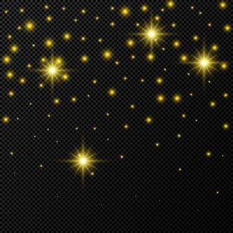Pano de fundo dourado com estrelas e brilhos de poeira isolados em fundo escuro e transparente. efeito de luz brilhante de natal mágico comemorativo. ilustração vetorial.