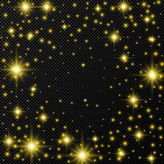 Pano de fundo dourado com estrelas e brilhos de poeira isolados em fundo escuro e transparente. ilustração vetorial.